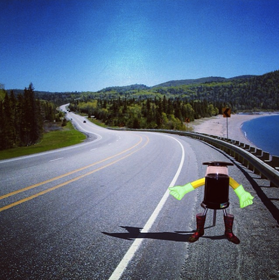 hitchbot on the road