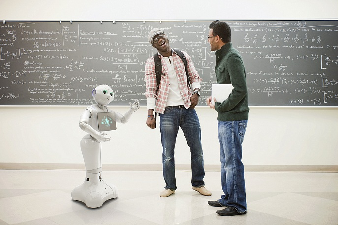 pepper robot interacting with students